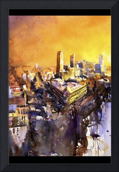 Watercolor painting of downtown Raleigh, NC