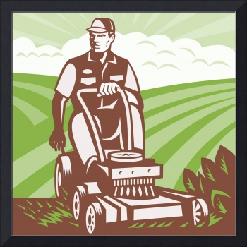 Gardener Landscaper Riding Lawn Mower Retro