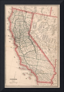 Vintage Map of California (1883)