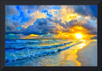 beautiful blue ocean sunset and waves