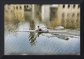 Man Rowing Boat in Florence Italy