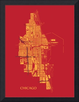 Chicago - Gold on Red with Title