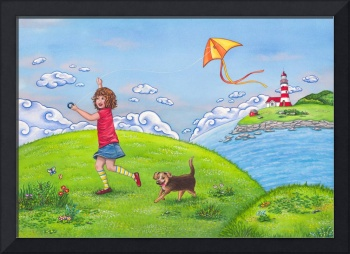 Childrens room art with Girl on a Sunny Summer Day