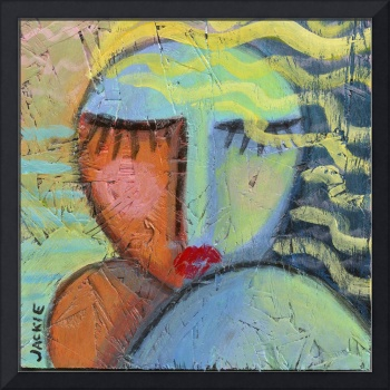 Woman with Beachy Hair Abstract Acrylic Painting