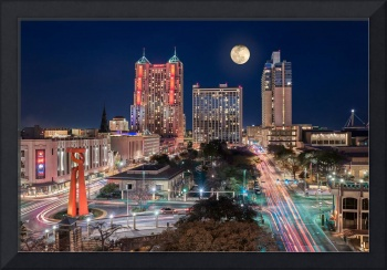 San Antonio Skyline with Moon