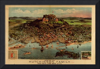 1881 High  Rock & LYNN, MA Panoramic Map