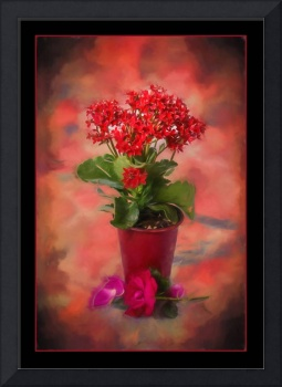 6893PS Red Explosion Still Life Painting