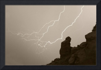 The Praying Monk Lightning Sepia print