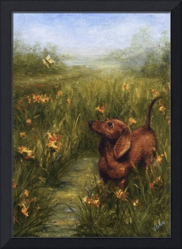 Spring is Here! Dachshund Dog Butterfly by Violano
