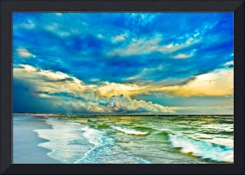 Painted Emerald Green Seascape Blue Fine Art Print