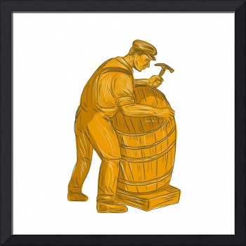 Cooper Making Wooden Barrel Drawing
