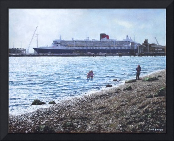 Cunard Queen Mary as seen from Weston Shore
