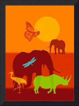 Wild African Sunset (elephants, rhino, butterfly)