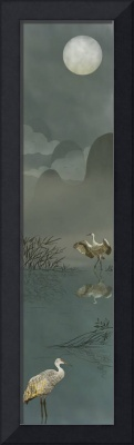 Oriental Scroll Art: Night With Cranes
