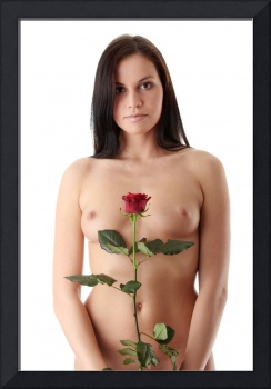 Nude woman with red rose