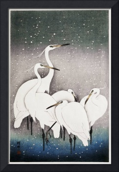 Group of Egrets by Ohara Koson