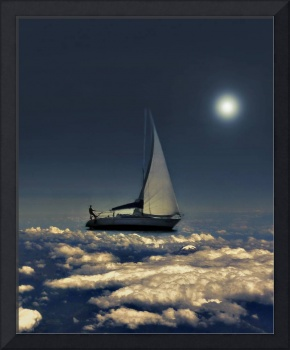 Navigating Trough Clouds Dreamy Collage Photograph