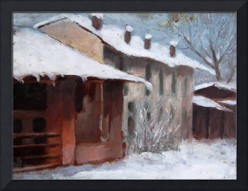 Farmhouse under the snow