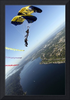 Members of the US Navy Parachute Team the Leap Fro