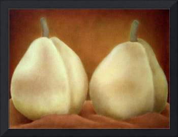 Two Yellow Pears on Cloth
