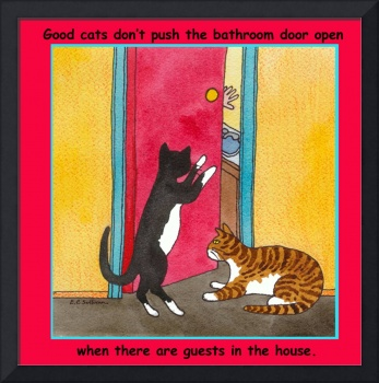 cats and the bathroom door