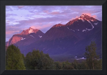 Alpenglow on Chugach Mtns in Evening SC AK Summer