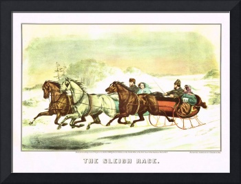 Currier & Ives The Sleigh Race