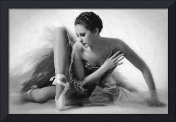 Ballet Dancer Sitting Black and White