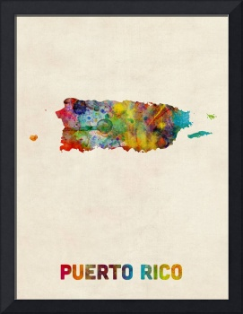 Puerto Rico Watercolor Map