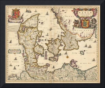 Vintage Map of Denmark (1690)