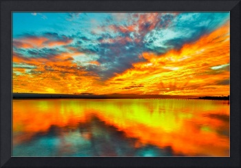 Red Orange Twilight Sunset over Navarre Bay Art