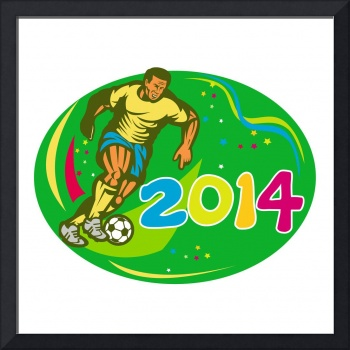 Brasil 2014 Soccer Football Player Run Retro
