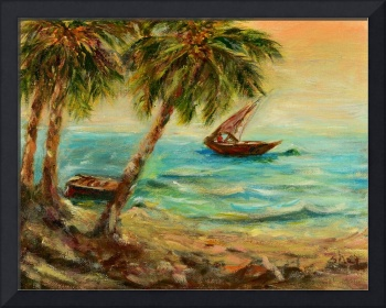 Sail boats on Indian Ocean