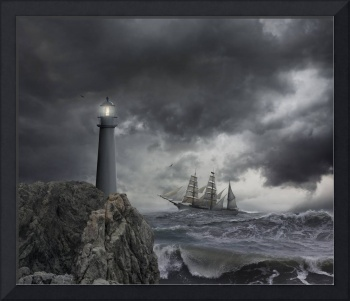 Tall-Ship-Lighthouse-Storm