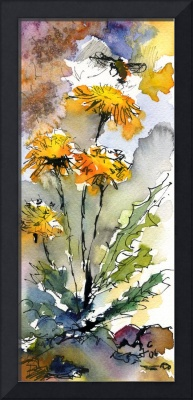 Dandelions & Bees Watercolor by Ginette Callaway