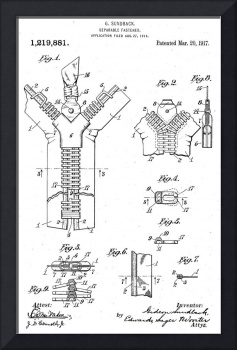 Vintage Zipper Patent Illustration (1917)