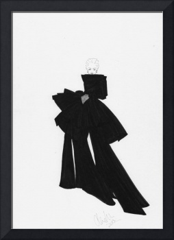 Fashion Art Black Bow Dress Illustration
