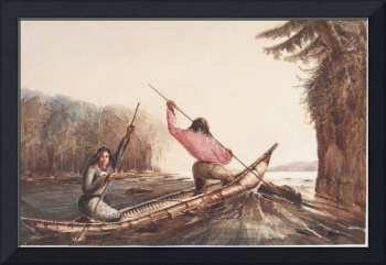 Micmac Indians Poling a Canoe Up a Rapid