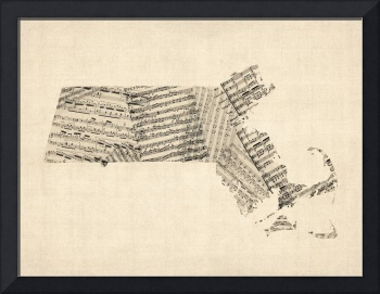 Old Sheet Music Map of Massachusetts