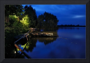 Night river view with boats