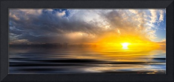 beautiful golden panoramic sunset waves