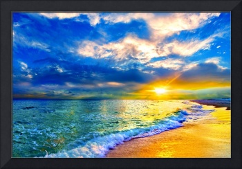 blue seascape art print skyscape cloud landscape