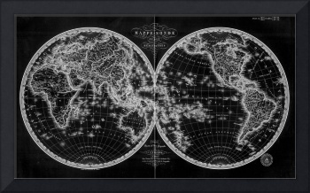 Black and White World Map (1820) Inverse