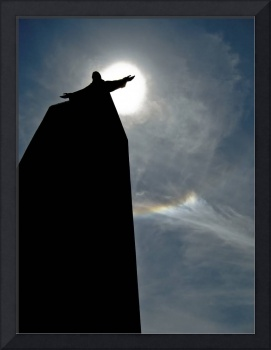 A silhouette of the Catholic monument of Jesus Chr