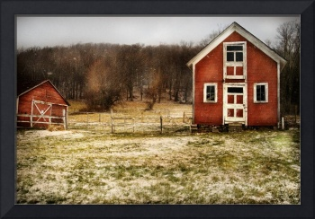 Red Farmhouse and Barn in Snowy Field Photographic