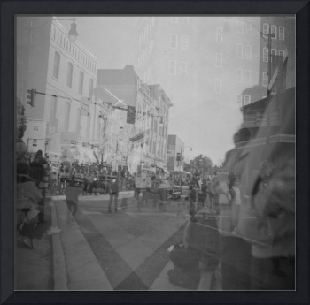 Double Exposure of Veteran's Day Parade