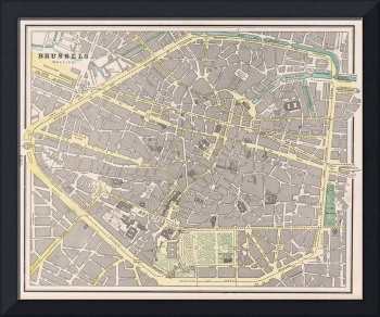 Vintage Map of Brussels Belgium (1901)