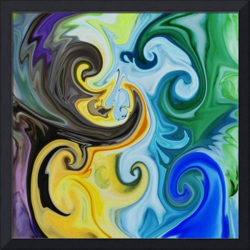 Abstract In Yellow  Green And Blue