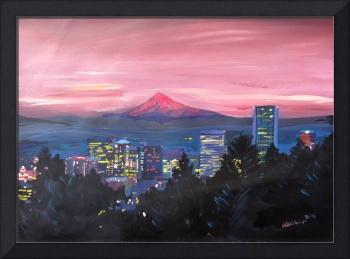 Portland Oregon with Red Mt Hood at Sunset