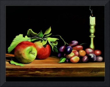 Apples,Grapes and Candle